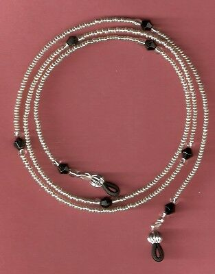 """Eyeglass Chain~Silver & Black~28"""" NEW~Fancy Ends~Crystal Accents~Buy 3 SHIP FREE"""