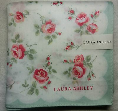 "Laura Ashley rose green handkerchief 58x58cm(22.84"") cotton100% Japan made"