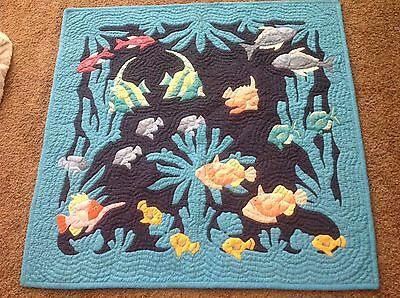 Beautiful Tropical Fish Hanging Handmade Quilt