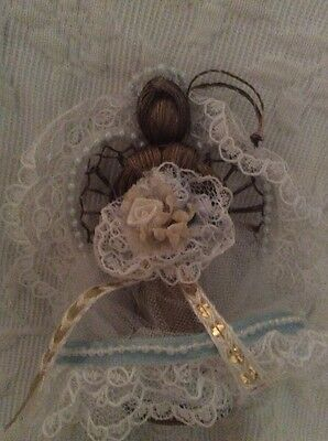 Antique Victorian Angel Ornament Wings Mohair Hair Christmas Bead Lace Vtg Bride