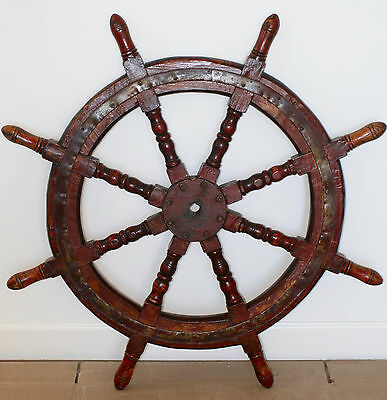 """ANTIQUE LARGE SHIP'S WHEEL, CIRCA 1800s, 40"""" DIAMETER, WOOD WITH METAL STRAPPING"""