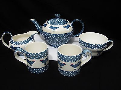 Chanticleer Alice Cotterell country Style Rooster Teapot for 2 set Burleigh