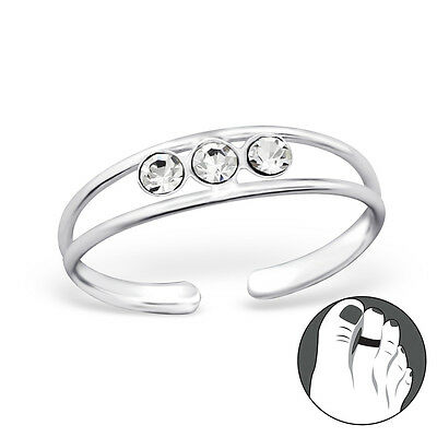 925 Sterling Silver Toe Ring Trinity Triple CZ Gem Double Band Adjustable