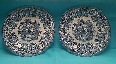 Blue Willow Style Churchill Dinner Plates x2