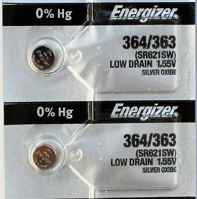 2PC Energizer 364 363 Silver Oxide SR621W SR621SW Button Cell Bettery