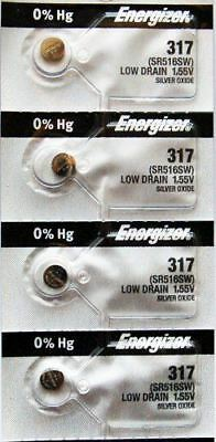 4PC Energizer 317 SR516SW Silver Oxide Button Cell Battery