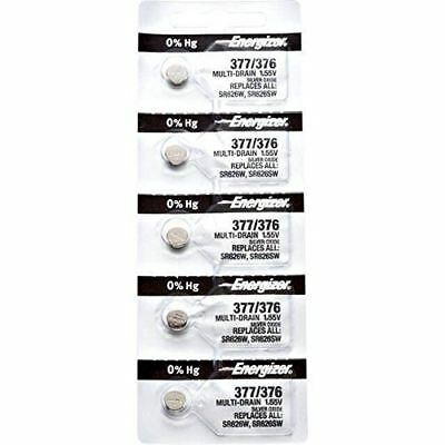5 x Energizer 377 Watch Batteries, 0% MERCURY equivilate SR626SW