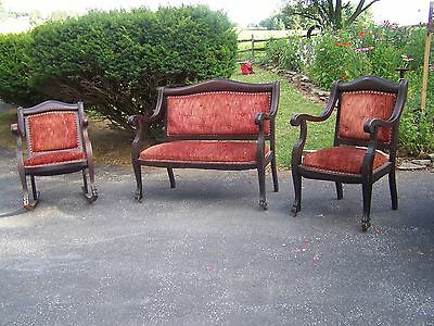 Antique Late 1800's Victorian Furniture Parlor Set Complete Original Claw Feet