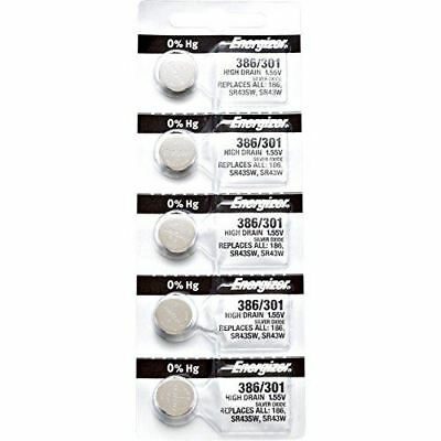 5 x Energizer 386 Watch Batteries, 1.55V, equivalent SR43SW, 301