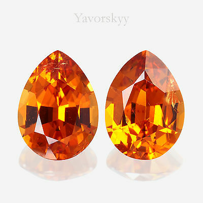 Vivid Orange Mandarin Garnet Matched Pair Natural Yavorskyy-cut 2.25 cts / 2 pcs