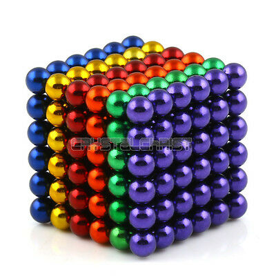 "216pcs Mix 5 Colors 5mm/0.2"" N35 Sphere Magnetic Beads 3D Puzzle Neodymium US"