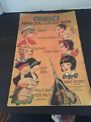 Very Rare Comics Paper Doll Cut Out Book 1935 Popeye, Blondie, Annie Rooney