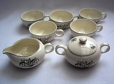 Vtg Mid Century Sears HARMONY HOUSE RITA Sugar Bowl & Creamer Set w/ 5 Cups 1956