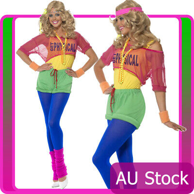 Ladies 80s Physical Girl Neon 1980s Workout Sport Aerobics Olivia Newton Costume