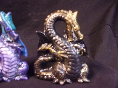 Hand painted Ceramic Dragon Mini Standing Black