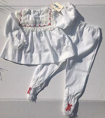 NWT Vintage Deadstock Alexis Set 9m White Red Roses Footed Pants Tunic Top