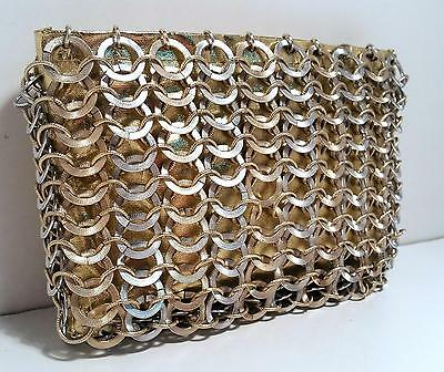 Vintage Walborg Metallic Gold Metal Ring Clutch Handbag Purse Hong Kong