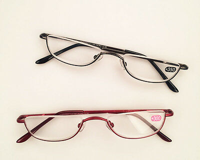 Unisex Half Moon Spring Hinge Half rim Reading Glasses Readers +1.0~ +4.0