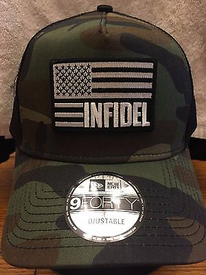 NEW ERA NE205 Camo Mesh Trucker Hat/Cap w/ Black White INFIDEL American Flag
