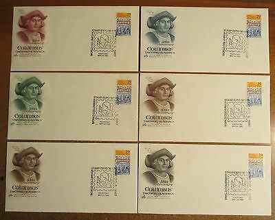 Set 1st Day Cover 500th Anniversary COLUMBUS Discovering America Columbian Stamp