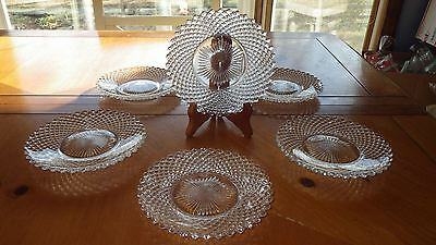 """Westmoreland Clear English Hobnail Bread and Butter Dessert Plates 6 6"""" plates"""