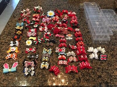 Dog puppy hair bows 102 bow huge lot Fall Xmas Easter Yorkie Poodle+ box keepers