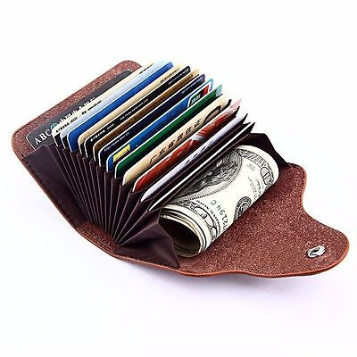 Leather Aluminum Wallet Blocking Pocket Holder Credit Card Case