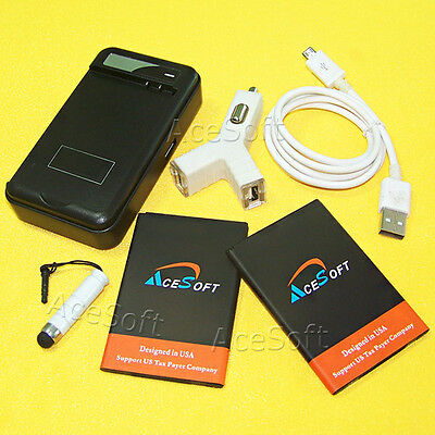 AceSoft 2x 3420mAh Battery Quick Car Charger Cable Pen for LG K20 Plus MP260 USA