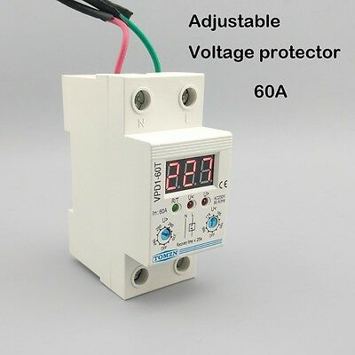 60A 220V Din rail adjustable voltage protective device relay with voltmeter