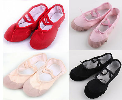 Canvas Split Sole Ballet Dance Shoes Slippers Toddler-Adult Black Red Pink Nude