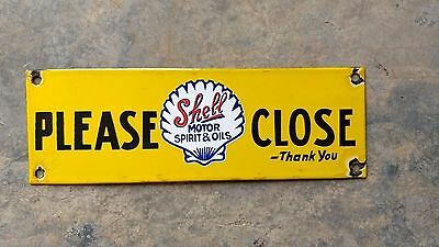 Vintage SHELL Motor Spirit Oil Please Close Porcelain Enamel Sign Board 12''