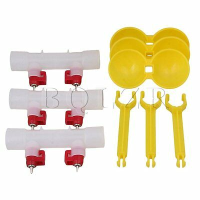 Double Nipples Waterer Feeder Sets of 3 Yellow