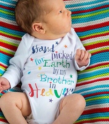 Hand Picked For Earth by My Brother/Sister etc in Heaven Rainbow Baby Clothes