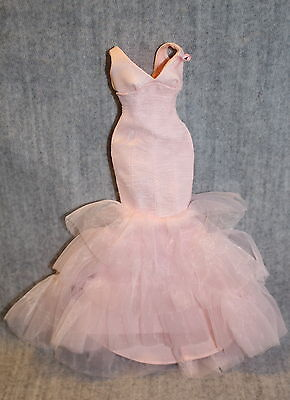 Barbie Mattel Pink Ribbon Collector Pale Pink Tulle Mermaid Glamour Down Dress