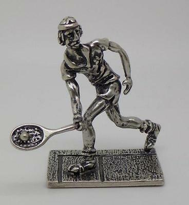 Vintage Solid Silver Handmade Tennis Player Miniature - Stamped - Made in Italy