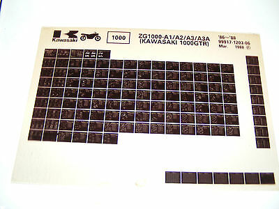 Kawasaki  Zg1000 A1/a2/a3/a3A  1986-88  Parts Catalogue  (Microfiche)