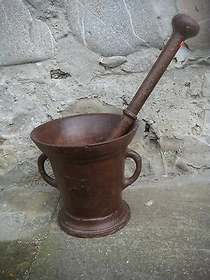 RRR RARE Antique Large Antique Cast Iron Mortar and Pestle