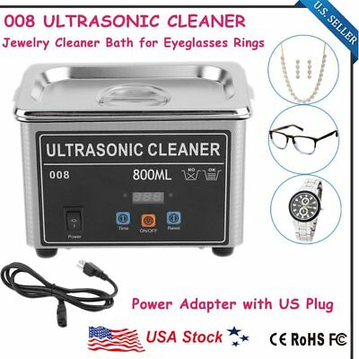 Stainless Steel Industry Lab Ultrasonic Jewelry Glasses Cleaner 800mL w/Timer MX