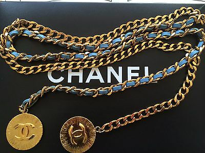 Coco Bag Cc Belt Vintage Gold & Blue Leather Chain Necklace Coco Coin Bracelet