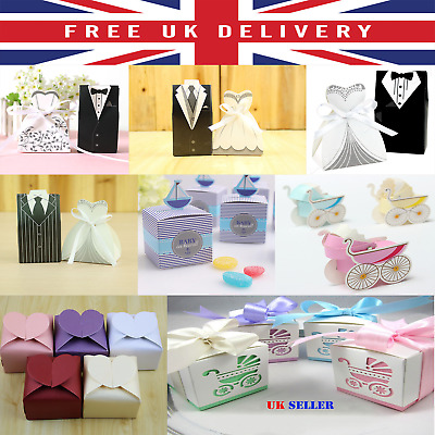 Special Day Gift Favour Boxes Wedding Baby Shower Christening Heart Ribbon Bag