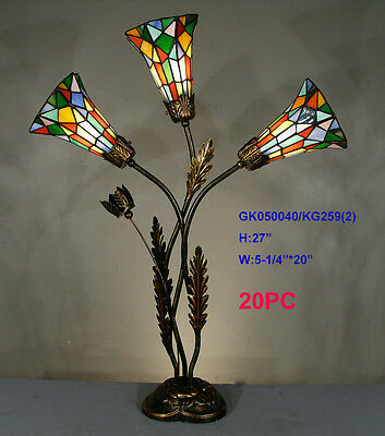 *limited* Tiffany Stained Glass Three Tulip Lights Leadlight Lounge Table Lamp