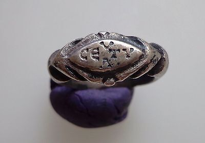 Late Roman Silver Ring with Inscriptions on the Bezel.C 5th-7th C.AD