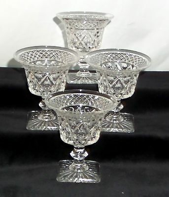 """4 Imperial CAPE COD CRYSTAL *3 1/4"""" FLARED COCKTAIL GOBLETS w/WAFER STEM*160B"""