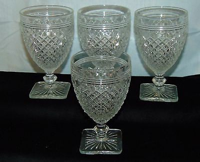 "4 Anchor Hocking MISS AMERICA CRYSTAL *4 3/4"" JUICE GOBLETS*"