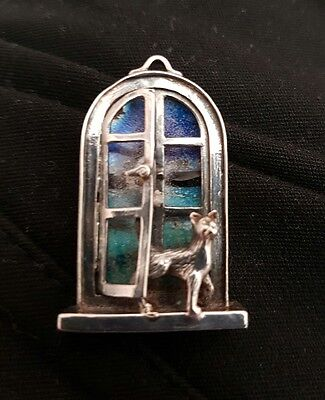 Enamel and Silver Brooch
