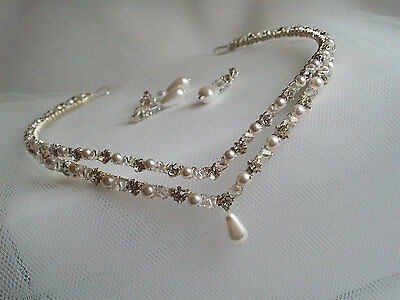 Handmade swarovski wedding bridal forehead tiara circlet brow band FREE EARRINGS