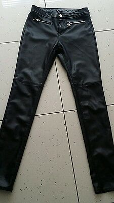 H&M Ladies Leather Look Trousers Pants Black size 12 UK 31 leg