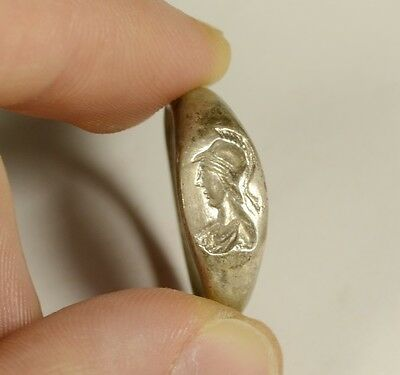 Amazing Greek Style Silver Seal Finger Ring - Athena With Helmet - Wearable