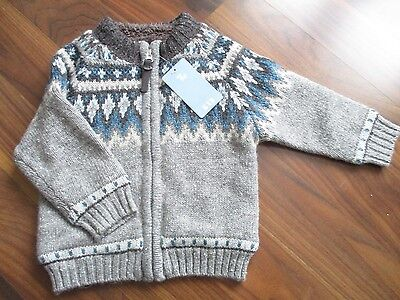 Boys TU chunky knit zip through grey cardigan 12-18 months NEW