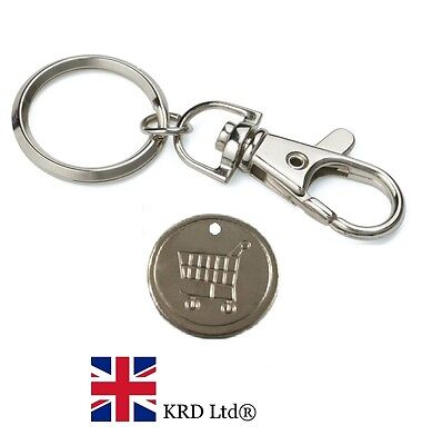 SHOPPING TROLLEY TOKEN COIN Reusable £1 One Pound Steel Key Ring Locker Tokens